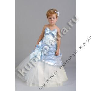 Платье для девочки Дарина 2 банта голубое