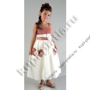 Платье для девочки Сарафан цветы кармашки крем