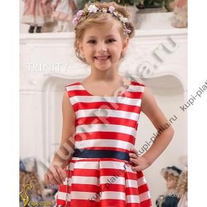 Платье для девочки Красное Модная полоска