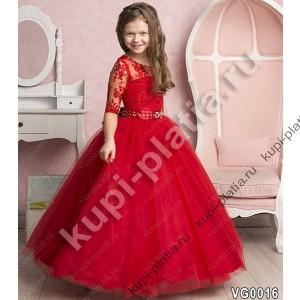 Красное платье для девочки длинное