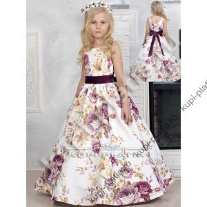 677a1f36ea9 Платье праздничное Летний сад молочный. Платье на выпускной Азалия органза  роз