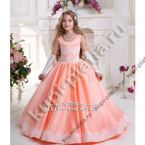 7af40f115a7 Платье для девочки бальное Романтика атлас персик
