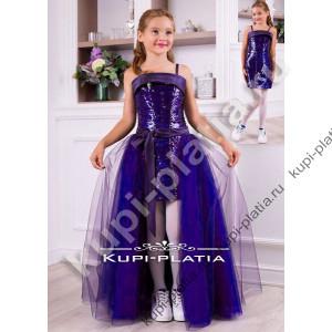 6eeaa8acba4 Платье для девочки костюм трансформер Пайетки сирень